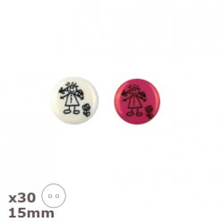 30 boutons blancs ou roses petite fille 15mm dill