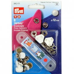 6 boutons pression jersey blanc 12mm