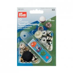 10 boutons pression sport et camping argent 15mm