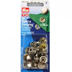 10 boutons pression sport et camping recharges argent 15mm