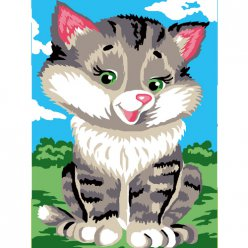kit canevas enfant chat 20x25cm