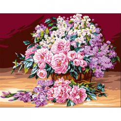 canevas antique bouquet de pivoine  rafael angelo 50x65cm
