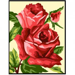 kit canevas blanc rose rouge 20x25cm