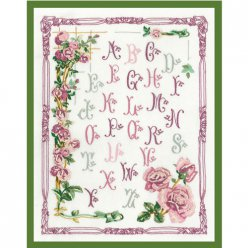 kit broderie traditionnelle abc aux roses