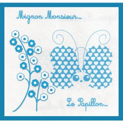 kit broderie traditionelle mignon monsieur le papillon