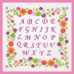 kit abc frise de fleurs broderie traditionelle