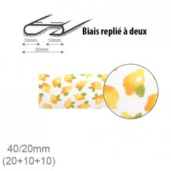 biais fantaisie motif citrons 20mm replie a 2  25m