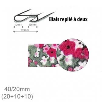 Stephanoise Biais floraux Rose 20 mm par rouleau de 25 m