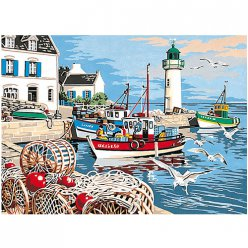 canevas antique le port de peche  45x60cm