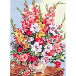canevas antique bouquet de glaieuls  45x60cm