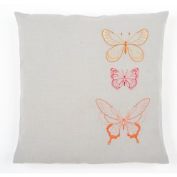 kit coussin broderie traditionnelle papillons oranges