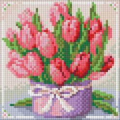 diamond painting 15x15  mes tulipes