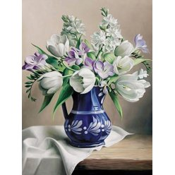 diamond painting 40x30  les tulipes blanches