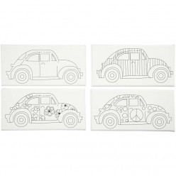 lot de 4 toiles avec impression vehicules