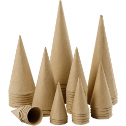 cones papier mache 4 20 cm assortiment 50 pieces