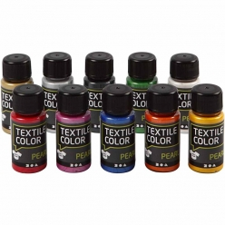 peinture textile color pearl assortiment 10x50 ml