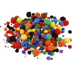 pompons 10  40 mm assortiment 150 pieces