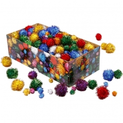 pompons scintillants 15  40 mm assortiment 400 pieces