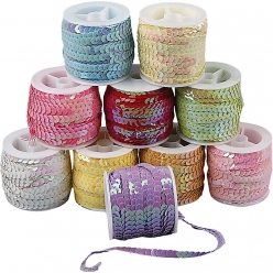 rubans de sequins 6 mm assortiment pastel 10x10 m