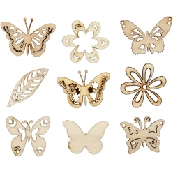 decorations en bois papillons 45 pieces