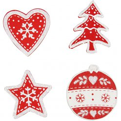 decors de noel assortis rouge et blanc  12 pieces