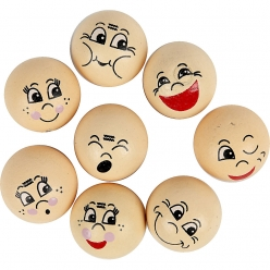 tetes emoticone en bois assortiment 16 pieces