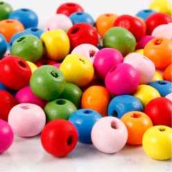 perles en bois colore assortiment 8 mm 500 gr