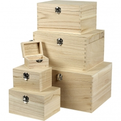 boites en bois assortiment de 6 pieces