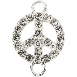 ornement peace strass 15 mm 2 pieces