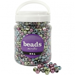 perles pony en plastique 10 mm assortiment 700 ml