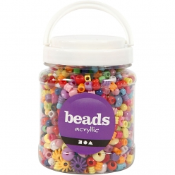 perles mix plastique 6  20mm assortiment 700 ml