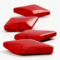 grandes perles en pierre rouge 33x22mm