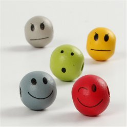 perles en bois visage smiley 12 mm 240 pieces
