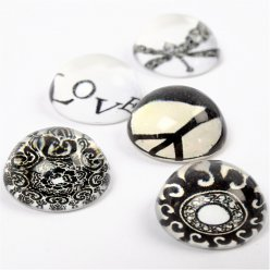 cabochon rond bombe peaceetlove 5 pieces