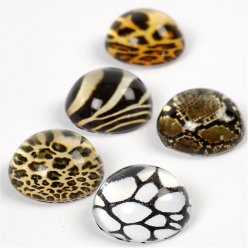 cabochons ronds peau animale 5 pieces