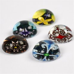 cabochon rond bombe fantaisie 5 pces