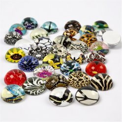 cabochons ronds assortiment fantaisie 70 pieces