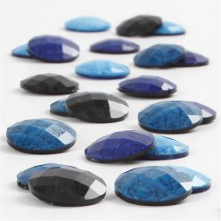 cabochons ronds bombes teintes bleues 24 pieces