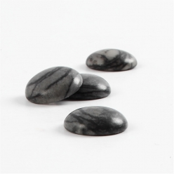 cabochons ronds en pierre noir gris 4 pieces