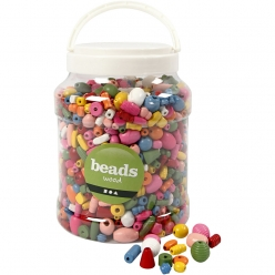 perles en bois colore 5 28 mm assortiment 2l