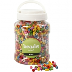perles en bois colore 5  8 mm assortiment 175 gr