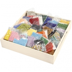 grand assortiment de perles de rocaille 100x 25gr