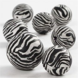 perles en argile coloris zebre 15 20mm 80 pieces