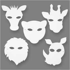 masques carton blanc animaux de la jungle 16 pieces