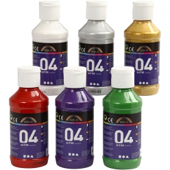 set de peintures a paillettes 6x125 ml