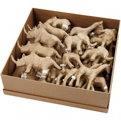 animaux en papier mache assortiment safari 32 pieces