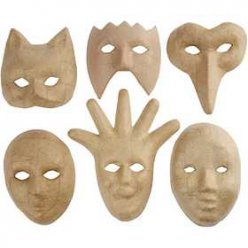 masques h 12  21 cm lot de 6 pieces