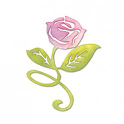 die sizzlits  flower rose stem et leaves scrappy cat