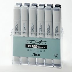 set copic marker  12 gris froids