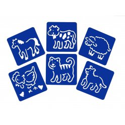 pochoirs 15x15 cm animaux lot de 6 pieces